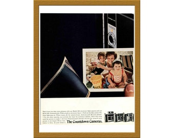 "1969 Polaroid Color AD / The countdown cameras / 8"" x 10"" / Original Print Ad / Buy 2 ads Get 1 FREE"