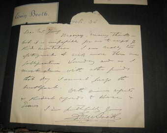 Rare EDWIN BOOTH LETTER-
