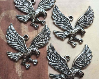 Eagle pewter silvertone pendants charms 4 pc lots