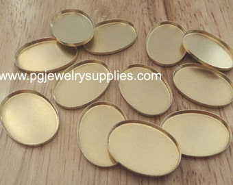 25mm x 18mm oval brass low wall closed back bezel  cameo cab settings LW 12 pieces lot l