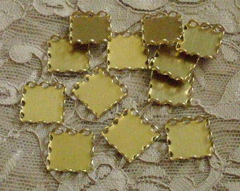 13mm square lace edge settings closed back cameos cabochons 12 pc lot 1