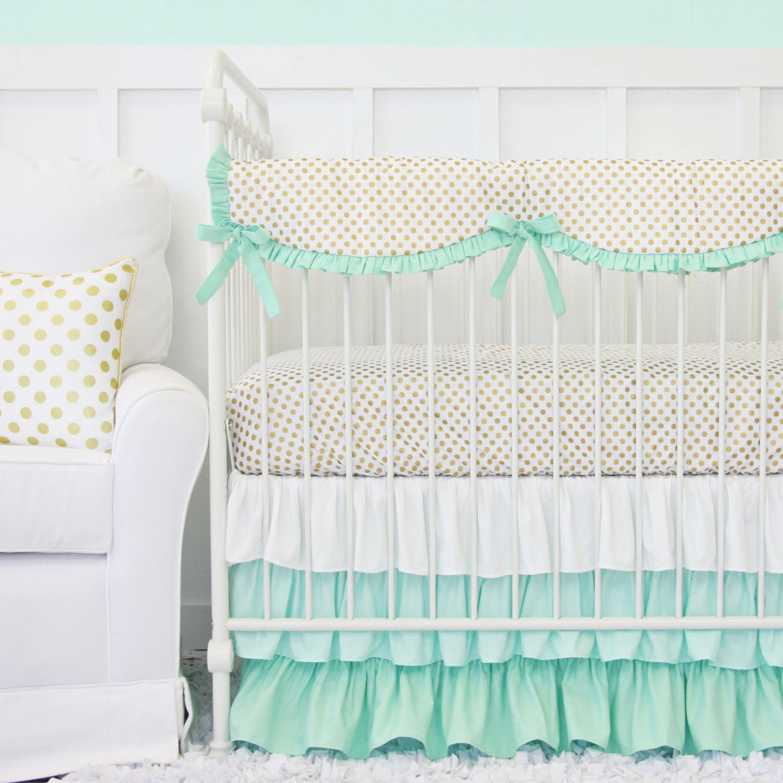 Mint And Gold Dot Ruffle Designer Baby Bedding Crib Set Gold