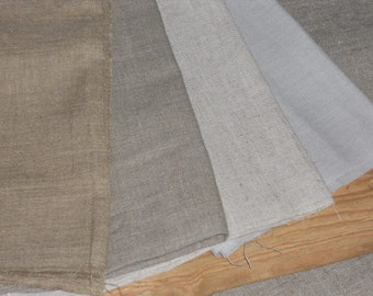 Linen fat quarters fabric remnants natural pastel colors plain European flax for textile art and craft projects