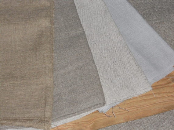 Linen Fabric Remnants Natural Gray Black Plain And