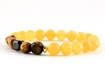 Yellow Calcite Bracelet, Tiger's Eye Bracelet, Solar Plexus Bracelet, Chakra Bracelet, Gemstone Bracelet, Handmade Jewelry, Gemstone Jewelry