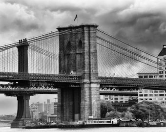Black and White Brooklyn Bridge and Manhattan Bridge, Brooklyn Clock Tower, East River, NYC