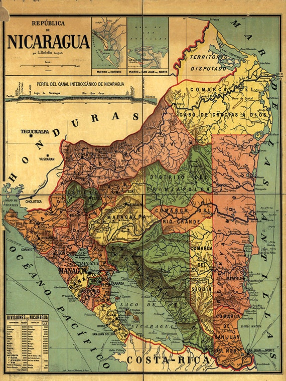 Nicaragua Map Print Map Vintage Old Maps Antique Map Poster