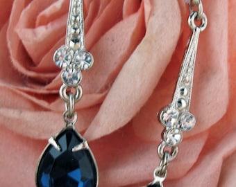 Classic Blue Tears Drop  Earrings Silver Tone Sparkling Crystal Drop Earrings Silk Road Jewelry