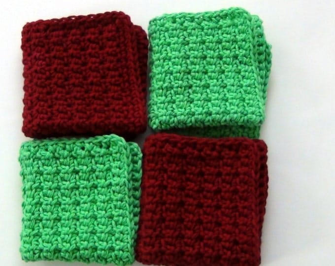 Burgundy and Green Washcloths, Crochet Dishcloths, Cotton Facecloths, Set of 4 Eco-Friendly Cleaning Cloths