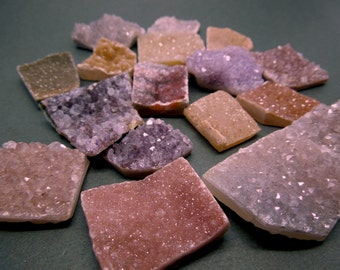 Gorgeous Raw Assorted Amethyst Druzy Rectangles - Natural Raw Purple Amethyst Clusters and Assorted Quartz Druzy -- Bulk Lot of 5 (RK4B9)