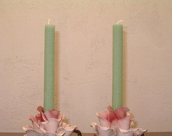Set Of Two Mint Green Rolled Beeswax Candles