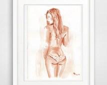 "female print ""watercolor print 8x10"" nude print naked print erotic woman sexy nude"