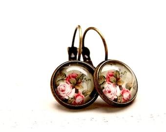 Cabochons Earrings * Vintage Flowers * - E217