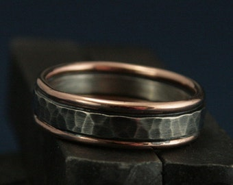 The Paragon - 14K Solid Rose Gold Edged Hammered Silver Band - Men's Bimetal Ring - Two Tone Wedding Band - Rose Gold Men's Band