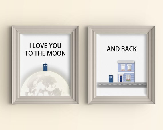I Love You To The Moon And Back Wall Art i love you to the moon and back art print set 11 x 14 doctor