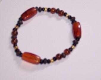 Amber Glass Bead Bracelet