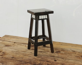 Bar Stool Rustic Reclaimed Barn Wood Finished w/Round by ...