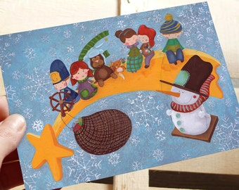 "Illustred Christmas postcard.With Christmas Comet Star driven by Bobby,Snowman in the swing and romantic characters. Folk Art 5.82"" x 4.13"""