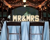 MR & MRS Marquee Letter Lights with warm white battery powered LEDs, 20cm (8inch) high