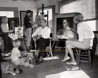 Big Eyes 1957 Walter Keane & Margaret Keane PAINTING WITH FAMILY