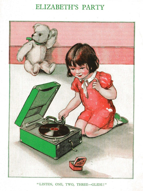 1930s print of illustration by Muriel Harris, young girl playing old gramophone, party, matted for framing, 8 x 10 inches
