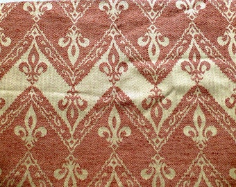 "Fleur De Lis Chevron Designer Jacquard Fabric- Copper Red Beige or Camel Beige Upholstery Designer Fabric - Home Textile 25.5x 17"" / 65x43cm"