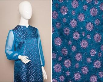 60s Blue PSYCH Satin SHEER Sleeve Mini Dress UK 10