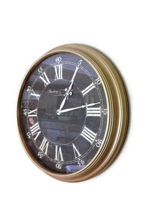 Large gold wall clock hand painted hollywood by farmhousefare for Large gold wall clocks