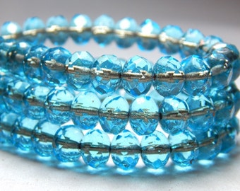 8x6mm Aqua Lined Czech Beads, Blue Beads, Light Blue Beads, Glass Beads, Rondell Beads, Rustic Beads, Faceted Beads T-063B