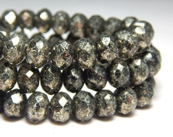 8x6mm Antique Bronze Picasso Czech Beads, Bronze Beads, Black Beads, Glass Beads, Czech Rondelles, Rustic Beads, Faceted Beads T-066A
