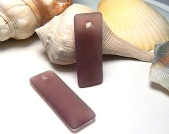 2 Amethyst Sea Glass Pendants, Purple Pendants, Sea Glass Charms, Matte Pendant, Rectangle Pendant, Ocean Pendant, Beach Pendants D-E55
