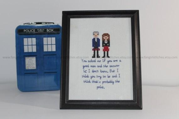 Doctor Who Peter Capaldi A Good Man Cross Stitch - PDF Pattern - INSTANT DOWNLOAD