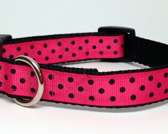 Hot Pink and Black Polka Dot Small or Medium Dog Collar Quick Release - 3/4 inch