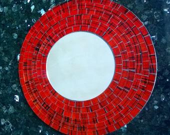 MIRROR Beautiful Handmade Red 30cm Mirror FREE UK p&p