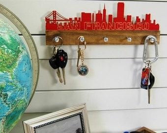 San Francisco skyline key holder wall mounted modern wood