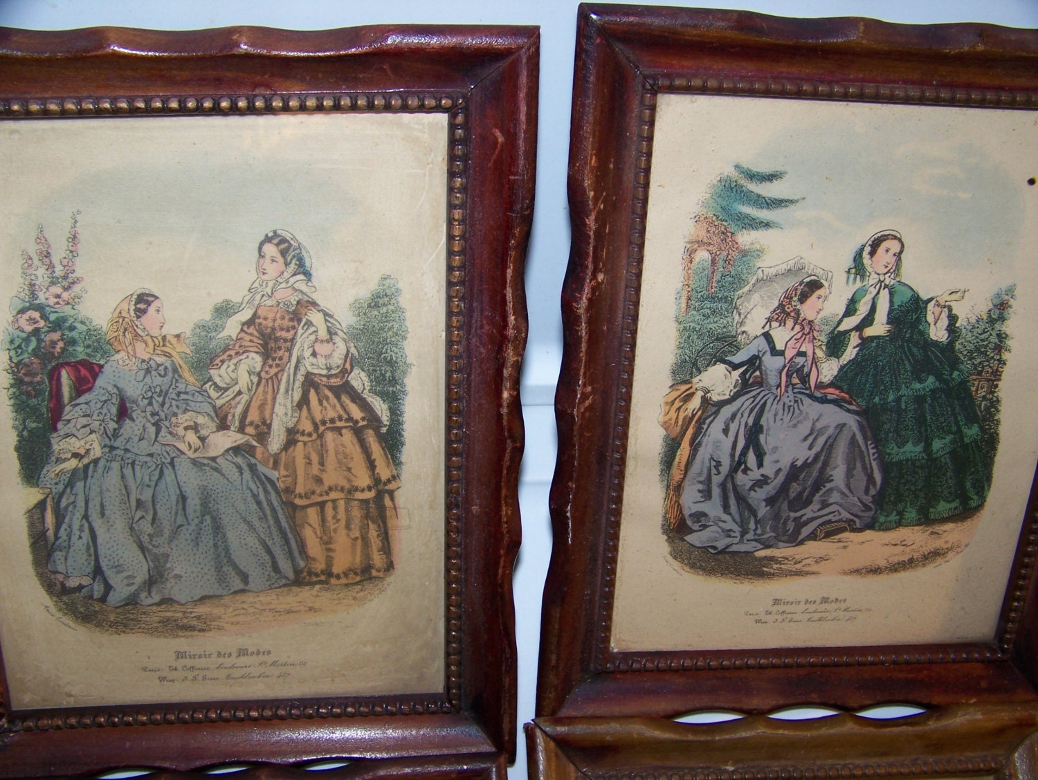 vintage french fashion prints miroir des modes mahogany wood