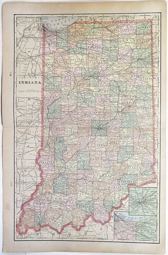 Large Vintage Color Atlas Map Of Indiana Circa 1880s Beautiful