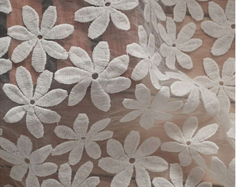 "ivory white starfish Embroidery Lace Fabric , Wedding Lace , 50"" Wide flower Pattern Lace fabric  for Wedding Dress,Bridal Veil,Craft Making"