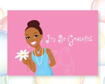 I'M SO GRATEFUL..Personal Thank You Stationery Set, African-American, Gifts for girls, Gratitude, Thankful, Literacy