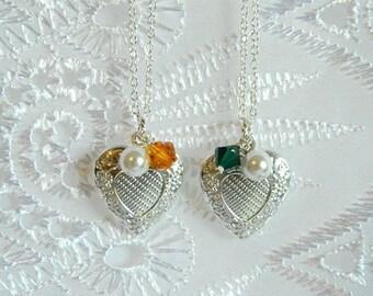 Little Girls Locket,Birthstone Necklace, Flower Girl Necklace, Flower Girl Jewelry Engraved Locket, Birthstone Locket, Personalized Jewelry