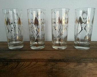 Vintage Mod Highball Glasses S/4