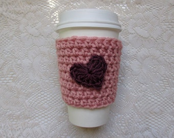 Handmade coffee cozy with heart