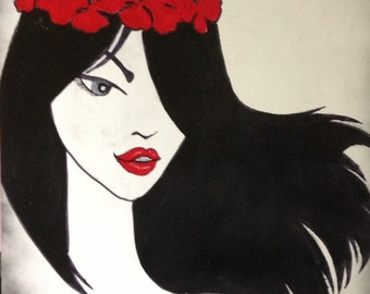 """16""""x20"""" Abstract Black and White Painting of Girl with Red Lips"""
