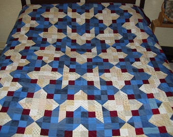 Civil war hand quilted quilt-bed size quilt-machine pieced-reproduction fabric quilt-patriotic quilt-red white and blue quilt