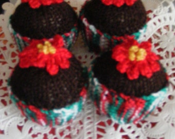 Christmas Poinsettia Hand Knitted Chocolate Cupcakes