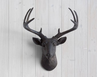 Black Faux Mini Deer Head by Wall Charmers™ Faux Taxidermy - Resin Animal Head Wall Mount Fauxidermy Nursery Decor - Baby Shower Gifts