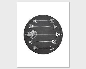 Arrows Art Print Chalkboard Printable 8x10 Instant Download Tribal Cabin Native American Nursery Decor Cabin Decor Wall Art Arrow Poster