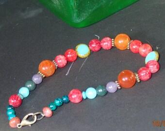 Gift, Brilliant quartz bracelet, gemstone jewelry, Sundance style, BOHO bracelet, Fall Colors, handcrafted, artisan jewelry, ooak, wow!