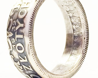SILVER Handcrafted Coin Ring - 1932 Polish 5 Zlotych Coin - Please select SIZE and Year below...