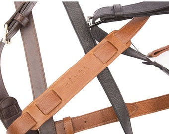 Artisan Leather Camera Strap, Vintage Look with belt buckle, perfect DSLR camera strap, made with genuine leather in the USA